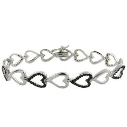 Sterling Silver Black Diamond Accent Heart Bracelet