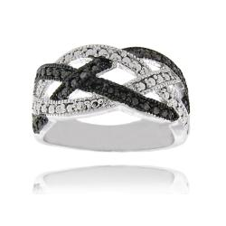 Sterling Silver Black Diamond Accent Braided Design Ring