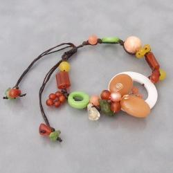 Cotton Rope Butterfly Citrine and Pearl Bracelet (6-8 mm) (Thailand)