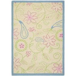 Handmade Children's Paisley Ivory New Zealand Wool Rug (5' x 8')