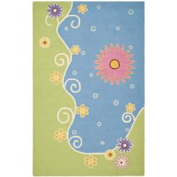 Handmade Children's Lily Pond New Zealand Wool Rug (5' x 8')