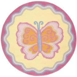 Handmade Children's Butterfly Yellow N. Z. Wool Rug (4' Round)