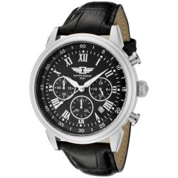 I by Invicta Men's Black Textured Dial Black Leather Chronograph Watch