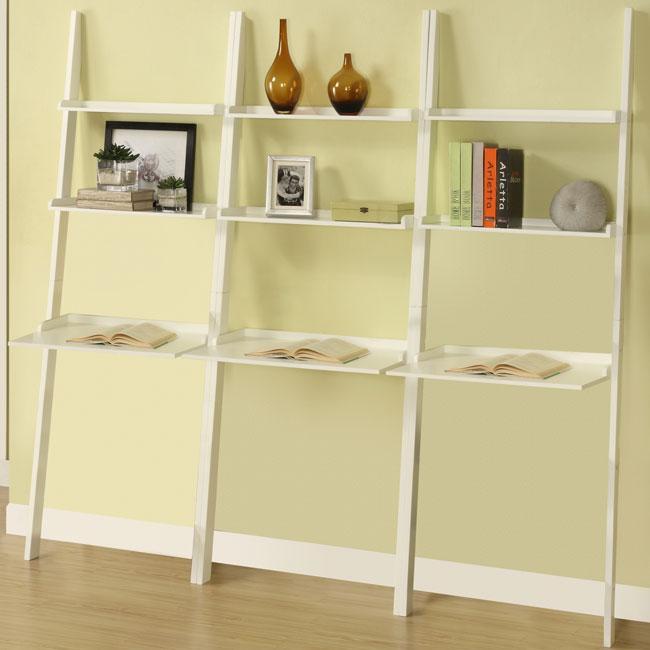 White 3-piece Leaning Laptop Shelf Set