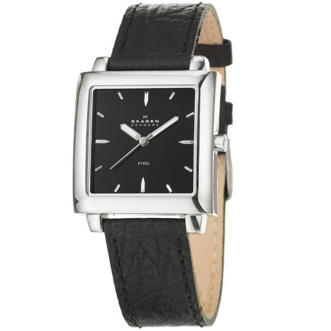Skagen Men's 'Modern' Stainless Steel and Leather Strap Watch
