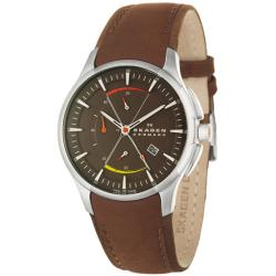 Skagen Men's 'Sport' Stainless Steel and Leather Quartz Watch