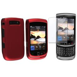 Wine Red Rubber Case/ Screen Protector for BlackBerry Torch 9800