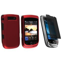 Wine Red Rubber Case/ Privacy Filter for BlackBerry Torch 9800