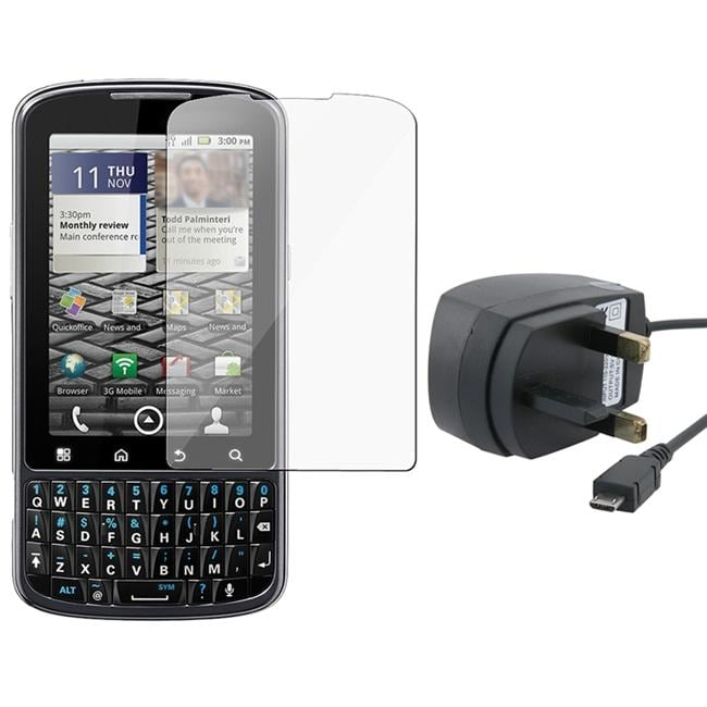 Black UK Travel Charger/ Screen Protector for Motorola A957 Droid Pro