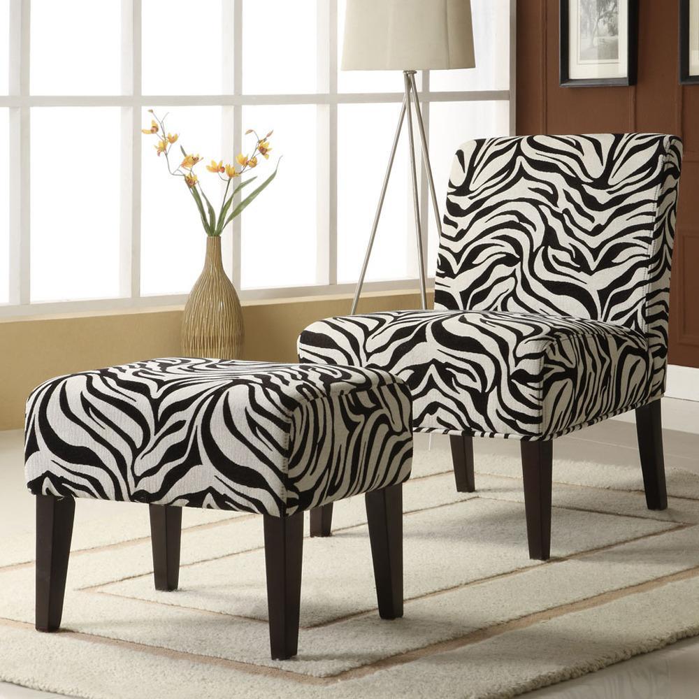 Decor Zebra Print Lounge Chair and Ottoman Set 13396219
