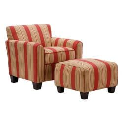 Park avenue hand tied crimson red stripe chair and ottoman for Abbyson living soho cream fabric chaise