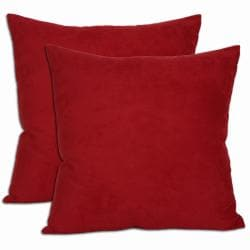 18-inch Red Microsuede  Throw Pillows (Set of Two)