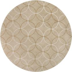Hand-tufted Contemporary Beige Retro Chic Green Geometric Abstract Rug (8' Round)