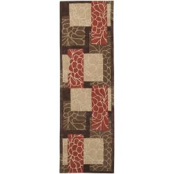 Hand-tufted Retro Chic Brown Floral Squares Rug (2'6 x 8')