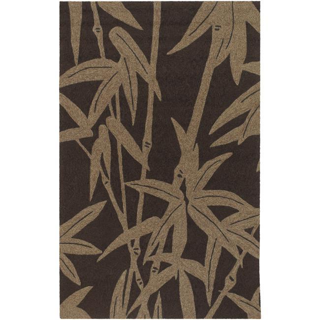 Hand-hooked Extrinsic Chocolate Indoor/Outdoor Botanical Rug (9' x 12')
