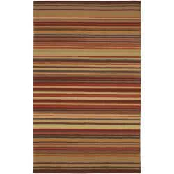 Hand-crafted Red Striped Casual Wool Rug (5' X 8')