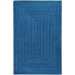 Hand-crafted Blue Geometric Ridges Wool Rug (3&#39;3 x 5&#39;3)