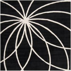 Hand-tufted Contemporary Black/White Mayflower Wool Abstract Rug (9'9 Square)