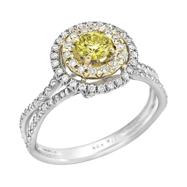 14k Two-tone Gold 7/8ct TDW Yellow and White Diamond Halo Ring (G-H, SI2)