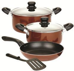 Cook N Home 6-pc Nonstick Aluminum Brown Cookware Set