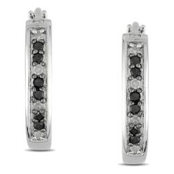 Miadora Sterling Silver 1/3ct TDW Black and White Diamond Earrings (G-H, I3)