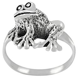 Tressa Sterling Silver Sitting Frog Ring