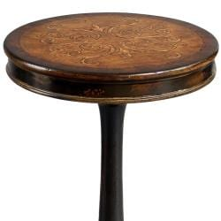 Hand-painted Brown Round Accent Table