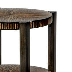Hand-stained Walnut Round Accent Table