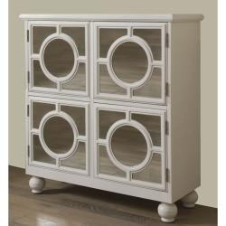 Hand Painted White Mirrored Door Accent Chest 13409072