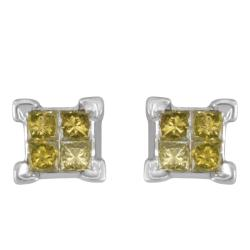 Sterling Silver 1/4ct TDW Yellow Diamond Earrings