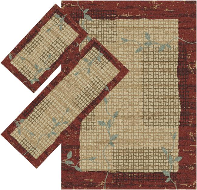 Appealing Burgundy Border Rugs (1' 8 x 2' 6) (1'10 x 5') (4'11 x 7')