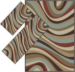 Appealing Brown Wavy Stripe  Rugs (1'8 x 2'6) (1'10 x 5'4) 4'11 x 7')