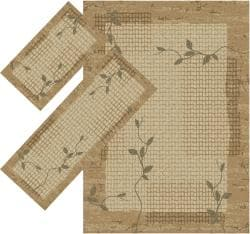 Appealing Brown Floral Vine Border Border Rugs (1'8 x 2'6) (1'10 x 5'4) (4'11 x 7')