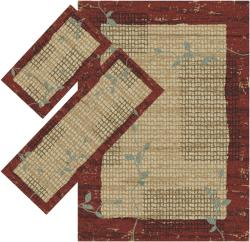Appealing Burgundy Border Rugs (1' 8 x 2' 6) (1'10 x 5') (4'11 x 7')