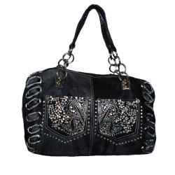 Blue Denim Rhinestone Accent Shoulder Bag