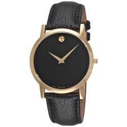 Movado Men's 'Museum Classic' Black Leather Strap Watch