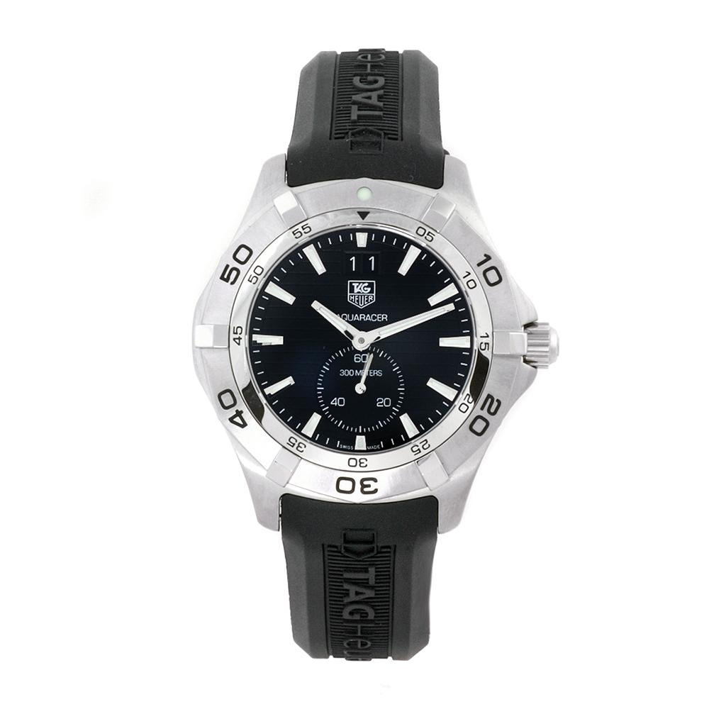Tag heuer men 39 s aquaracer 300m black rubber strap black dial watch 13410497 for Tag heuer discount