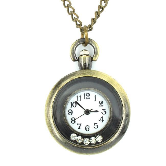 West Coast Jewelry Goldtone Cubic Zirconia Pocket Clock Necklace