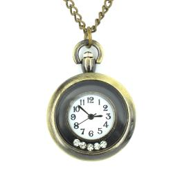 West Coast Jewelry Goldtone Cubic Zirconia Pocket Clock Necklace