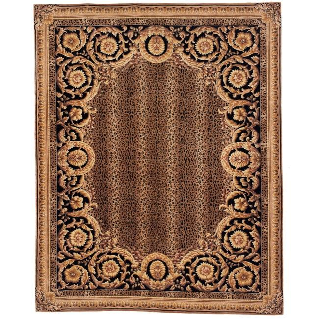 Asian Hand-knotted Leopard Brown/ Black Wool Rug (8' Square)