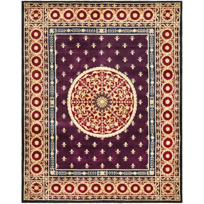 Asian Hand-knotted Fleur-de-lis Royal Purple Wool Rug (8' Square)