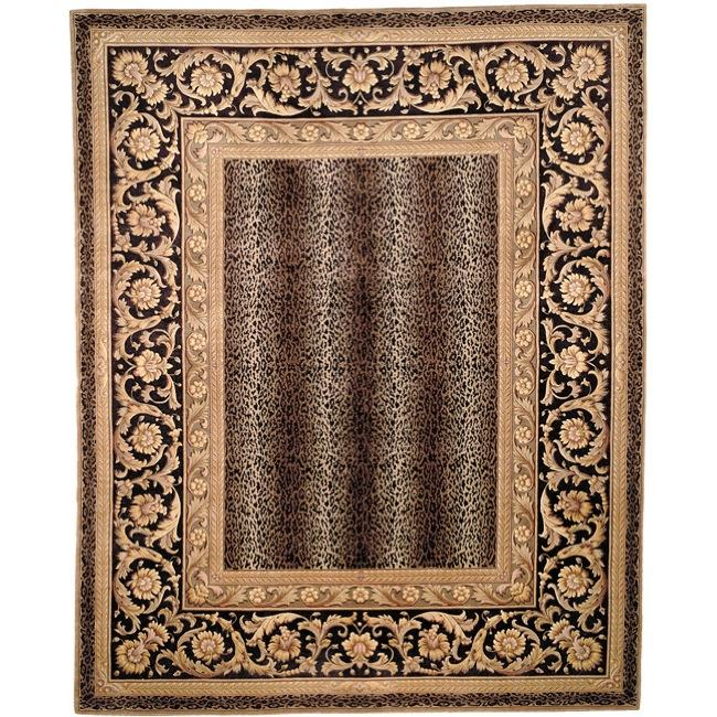 Asian Hand-knotted Leopard Beige/ Black Wool Rug (8' Square)