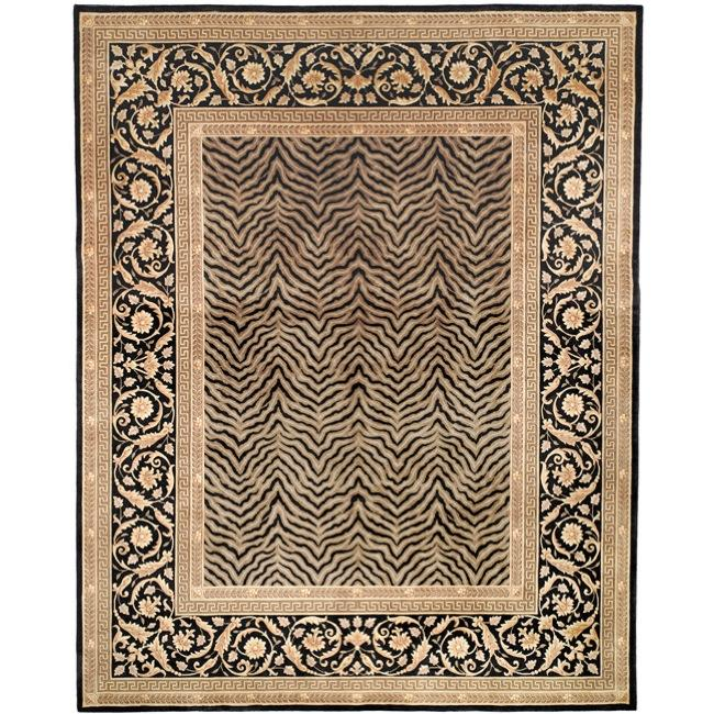 Asian Hand-knotted Zebra Beige Wool Rug (6' Square)
