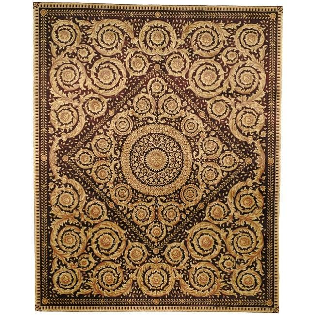 Worldstock Asian Hand-knotted Royal Crest Beige/ Purple Wool Rug (9' x 12') at Sears.com