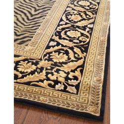 Asian Hand-knotted Zebra Beige Wool Rug (8' Square)