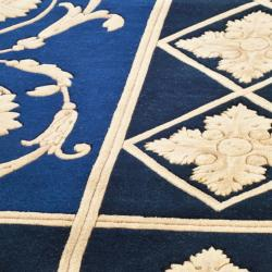 Asian Hand-knotted Majesty Royal Blue Wool Rug (8' Round)