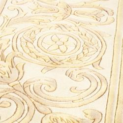 Asian Hand-knotted Medallion Navy/ Ivory Wool Rug (8' Square)