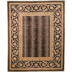 Asian Hand-knotted Leopard Beige/ Black Wool Rug (6' Square)