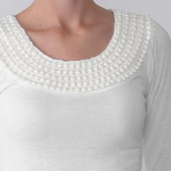 Journee Collection Everyday Junior's Crocheted Neck Top