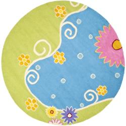 Handmade Children's Lily Pond Blue N. Z. Wool Rug (4' Round)